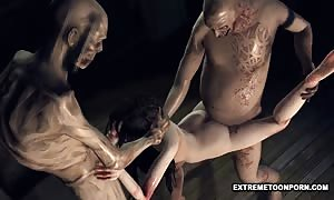 Foxy 3D Zombie hottie getting Double Teamed