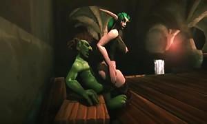 Whorecraft Night Elf reverse riding Goblins cock scene